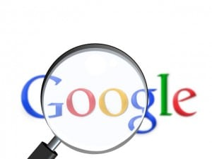 Google logo with search glass